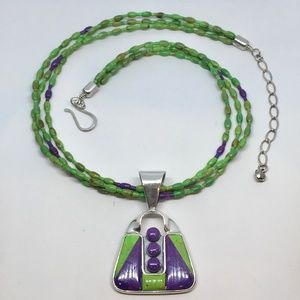 Jay King Sterling Green/Purple Turquoise Necklace